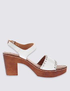 7863fa8117a Leather Two Part Block Heel Clog Sandals Heeled Clogs Sandals
