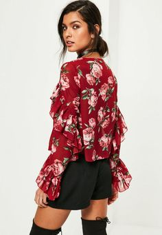 Red Floral Printed Frill Blouse - Missguided