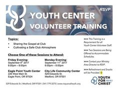 Youth Center Volunteer Staff Training with 2 Sessions, 2 Dates, and 2 Places to Choose from... you pick one and hear about these two Topics: