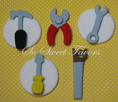 These tools cupcake toppers are offered by seller Sweet Favors 08. They include a hammer, pliers, wrench, screwdriver and saw. Simply bake and frost your cupcakes and top with these premade fondant creations.