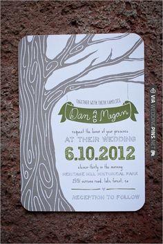 green and brown wedding invite by Blackberry Graphics   VIA #WEDDINGPINS.NET