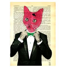 Red Cat Original Illustration  Art on Paper by VincenzoRizzo, $9.00