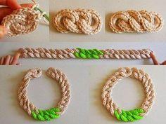 Paso a paso en fotos para tejer cadena realizada con ganchillo, a base de argollas de lana entrelazadas para usar en bisteria