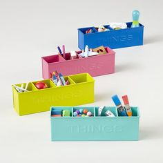 Kids Storage: Colorful Iron Things Bin in Desk Accessories | The Land of Nod