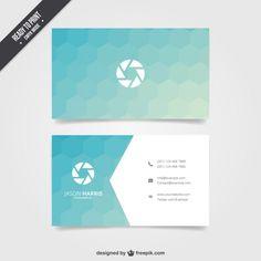 Cartão de visita com hexágonos azuis