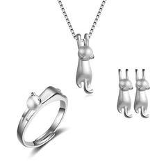 9c5144bf66f9be Cute Cat Jewelry Set - Ring - Ear Rings - Necklace – FreakyPet Katzen  Schmuck,