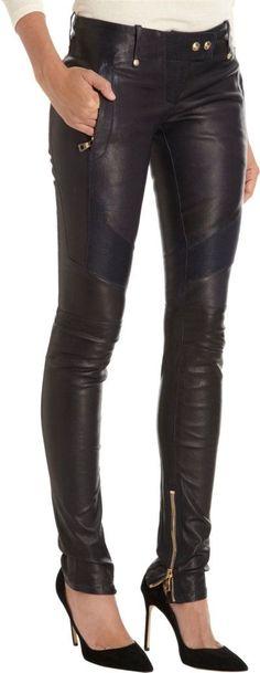 Balmain Leather Moto Pants