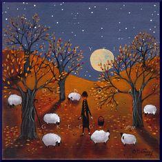Autumn Bliss Sheep Apple orchard full Moon PRINT by Deborah Gregg Autumn Illustration, Autumn Aesthetic, Moon Print, Primitive Folk Art, Autumn Art, Bliss, Halloween Art, Sheep, Cool Art