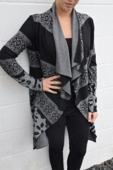 Elliot Lauren Long Print Cardigan | Black and grey printed open cardigan.   XS, S, L  Poly 62%, Viscose 33%, Spandex 5% | Primary View | Tangerine Boutique