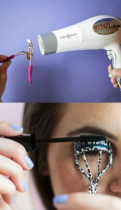 15 Simple makeup tricks for the girls you prefer .- Girl warming an eyelash curler and sticking her eyelashes - Beauty Make Up, Beauty Care, Diy Beauty, Beauty Hacks, Makeup Tricks, Eyelash Curler, Tips Belleza, Gorgeous Makeup, Eye Make Up