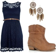 Navy lace dress, dream catcher earrings and western style boots
