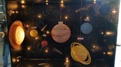 Awesome light up solar system project for my daughter's grade class Solar System Science Project, Make A Solar System, Solar System Projects For Kids, Solar System Model, Science Fair Projects, School Projects, High School History, Elementary Science, 5th Grades