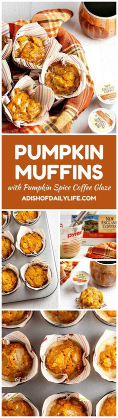 These Pumpkin Muffins with Pumpkin Spice Coffee Glaze are perfectly moist and have just the right amount of sweetness. And you will love the pumpkin spice coffee glaze...it adds a wonderful depth of flavor! Sponsored by #NewEnglandCoffee #YouAreExtraordinary