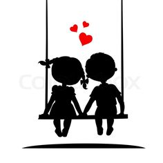 Silhouettes of a boy and a girl sitting on a swing | Stock Vector | Colourbox on Colourbox