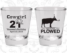 21st Birthday, Cowgirl Birthday, Cow Birthday Shot Glasses, Lets Get Plowed, Birthday Glasses (20158)