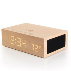 Wooden Alarm Clock / LED Time + Bluetooth Wireless Stereo Speaker & Temperature Display for Phones, MP3 Players, Tablets