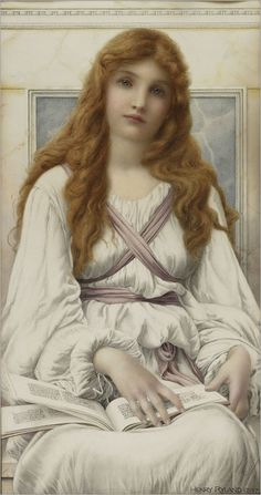 """Pensive"" -- by Henry Ryland (British, 1856–1924)"