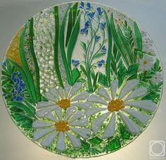 "Repina Elena. Great dish for the holiday table, ""Dreams of Summer"" glass fusing"