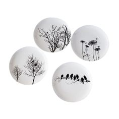 pottery painting designs Furniture and Dcor for the Modern Lifestyle Naturescape Bone China Plates - Set of 4 Pottery Painting Designs, Pottery Designs, Plate Wall Decor, Plates On Wall, Ceramic Tableware, Porcelain Ceramics, Ceramic Bowls, Pottery Plates, Ceramic Pottery