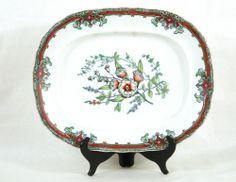 "Stoneware China, medium platter, English.  Stamped ""Imported Stone China.""  ""Bottanical"" makers mark. CIRCA: Late 19th Century DIMENSIONS: 12.5"" h x 15.5"" w PRICE: $395"