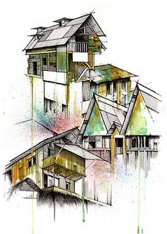 Splashes of colour used to highlight architecture exterior. Splashes of colour used to highlight architecture exterior. Render Architecture, Sketchbook Architecture, Croquis Architecture, Architecture Graphics, Landscape Architecture, Colour Architecture, Watercolor Architecture, Classical Architecture, Architecture Photo