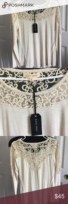 Long Sleeve, Laced Top Black Swan. Long Sleeve, cream, very pretty laced detailing, new with tags, perfect for fall. black swan Tops Tees - Long Sleeve