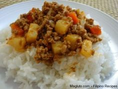 Filipino Recipe Picadillo (Giniling na Baka) recipe ground beef filipino food Pork Recipes, Asian Recipes, Cooking Recipes, Ethnic Recipes, Asian Foods, Easy Filipino Recipes, Chamorro Recipes, Vegetarian Recipes, Hawaiian Recipes
