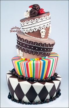 The topsy turvy cake, also known as the wonderland cake, mad hatter cake, or falling down cake is a popular cake design technique that involves carving, physics and contrapposto.  This tutorial