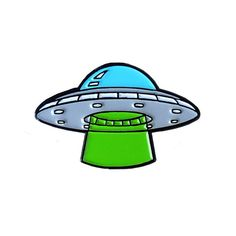 This out-of-this-World UFO enamel pin measures 25mm at the widest point and is made from metal and soft enamel with a metal clutch pin on the