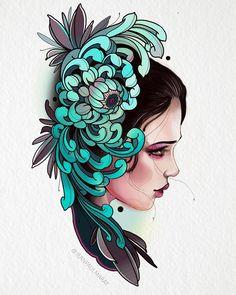 Trendy Tattoo Designs Ideas New School Japanese Flower Tattoo, Japanese Sleeve Tattoos, Japanese Flowers, Japanese Art, Tattoo Sketches, Tattoo Drawings, Neo Tattoo, Catrina Tattoo, Chrysanthemum Tattoo