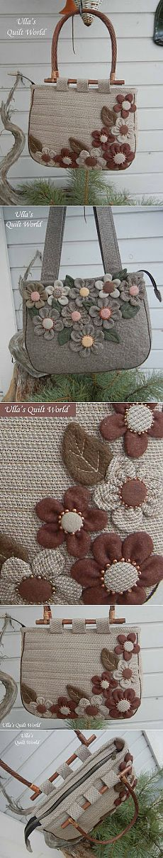 Ulla s Quilt World Japanese Patchwork, Patchwork Bags, Quilted Bag, Purse Patterns, Sewing Patterns, Handmade Purses, Denim Bag, Fabric Bags, Bag Making