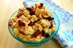 You love popcorn, maple, almonds, and cashews, right? Put them all together and you have a party in a bowl! Add some spice or keep it kid friendly and leave the spice out. Better yet, make a batch of both! A great  treat paired w/ your favorite beverage. It's popcorn all dressed up for the party!