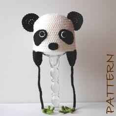 Crochet Animal Hat Pattern - Penelope the Panda Earflap Critter Hat - 4 sizes (6 months to adult). $7.95, via Etsy.