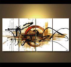 Texture originale contemporaine blanc abstrait acrylique peinture partiellement peinture par Osnat - sur commande - 60 « x 30 »