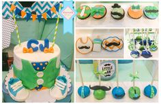 Little Man themed baby boy baby shower. Little man cake, cupcakes, cookies, cakepops, and choco oreos.