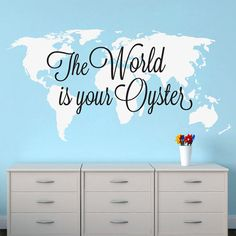 World map with country names modern urban and contemporary world is your oyster nursery decor baby map world map map decal world map decal wall decal wall art stickers wall decor skutwiyo gumiabroncs Image collections