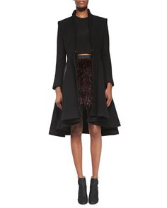 Alice + Olivia Mary Arched-Hem Princess Coat