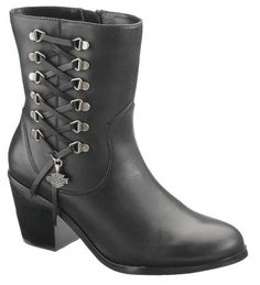 HARLEY DAVIDSON D84439 Alanis Leather Lace Women's Boots $139.99