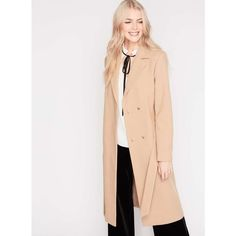 Miss Selfridge Camel Belted Midi Duster Coat ($85) ❤ liked on Polyvore featuring outerwear, coats, camel, white coat, calf length coat, camel belted coat, camel coat and duster coat
