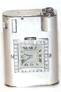Cartier Lift Arm Watch Lighter with Diamonds in Platinum. ca 1928