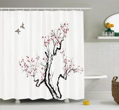 Japanese Decor Shower Curtain Set