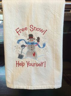 A personal favorite from my Etsy shop https://www.etsy.com/listing/474923832/embroidered-snowman-tea-towel-kitchen