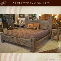 Rustic King Bed: Custom Western Style Wood Bed – BRS178A  Solid Wood Custom Bedroom Furniture Hand Hewn With Mortise And Tenon Joinery Fine Art Quality Certified Furnishings With Hand Applied Stain Finishes