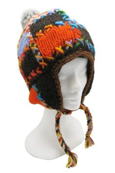 Handmade PURE WOOL Hat with Earflaps - Patchwork (With Lining) * Be sure to check out this awesome product.