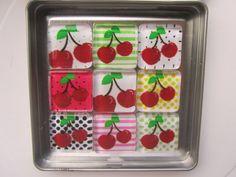 Cherries Refrigerator Magnets Set of 9 Fridge by DLRjewelry, $16.00