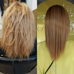 Fabulous before & after pic of our Alfaparf Keratin Hair treatment. Frizz free for Winter + Spring! This Keratin was done with a purple based keratin fluid which is great for toning Blondes & reducing brassy throws.   @lovekevinmurphy   #theradicalhairdesign #hairbyjesssafajou