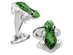 Hop into style: Jan Leslie's Rainforest Frog Cuff Links, $375
