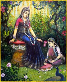 "☀ ♥ SHRI RADHIKA ♥ ☀ Artist: Vasudeva Krishna das ""When will Shri Radhika, who the girls of Vraja love as much as their own lives, who the gopa queen Yashoda loves as much as Lord Krishna, and who. Krishna Lila, Radha Krishna Photo, Krishna Radha, Lord Krishna Images, Radha Krishna Pictures, Krishna Avatar, Lord Rama Images, Radha Rani, Krishna Painting"
