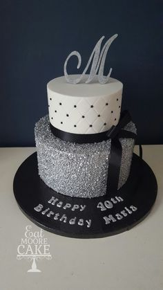 Silver, black and white theme by Eat Moore Cake birthday cake. Silver, black and white theme by Eat Moore Cake 30th Birthday Cake For Women, Birthday Cake For Women Elegant, White Birthday Cakes, Birthday Cake For Husband, 40th Cake, 60th Birthday Cakes, Beautiful Birthday Cakes, Bolo Glamour, Silver Cake