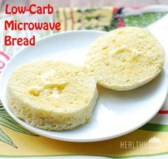Low-Carb Microwave Bread, made with egg, butter and coconut flour. A great breakfast bread.#glutenfree